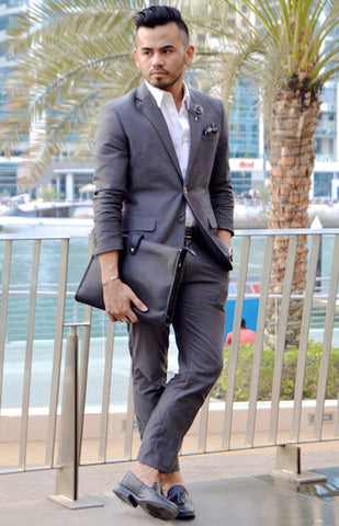 Grey suit with loafers