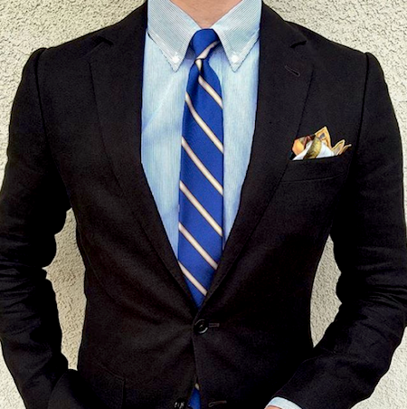 Black suit pocket square