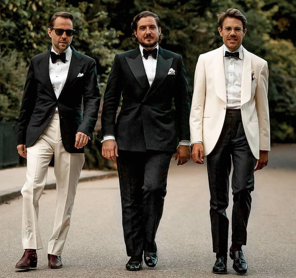 Black tie - black jacket with white trousers