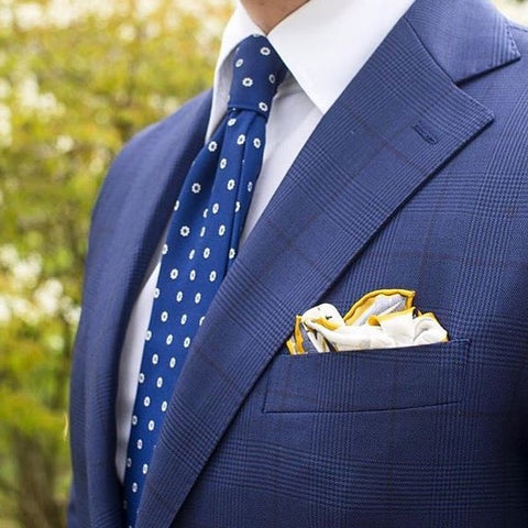 Blue and white tie and pocket square