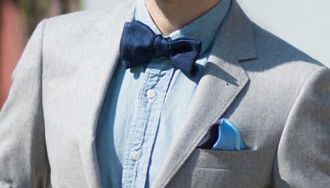 Bow tie with denim shirt