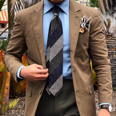 Brown jacket and pocket handkerchief