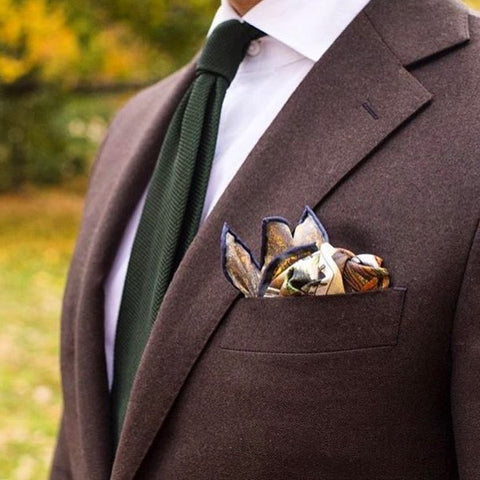 Brown jacket and pocket square
