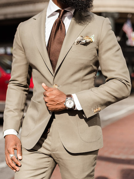 Brown suit tie and pocket square
