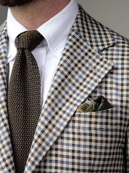 Check jacket and pocket square