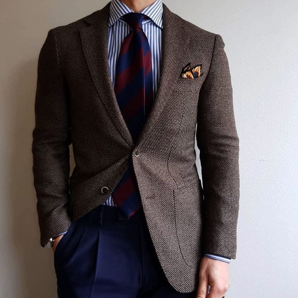 Flannel navy Trousers brown jacket