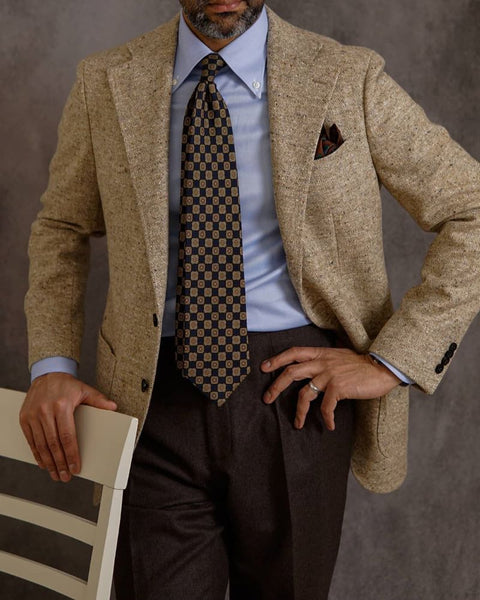 Flannel Brown trousers blue shirt pattern tie