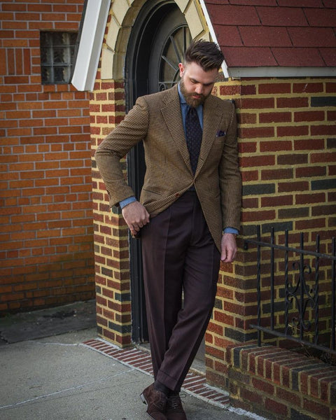 Flannel Brown trousers blue tie