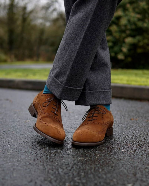 Flannel trousers dark grey brown suede shoes