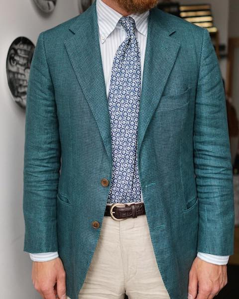 Green patterned suit jacket