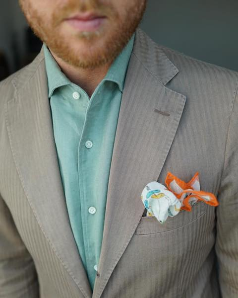 Green shirt with pocket square
