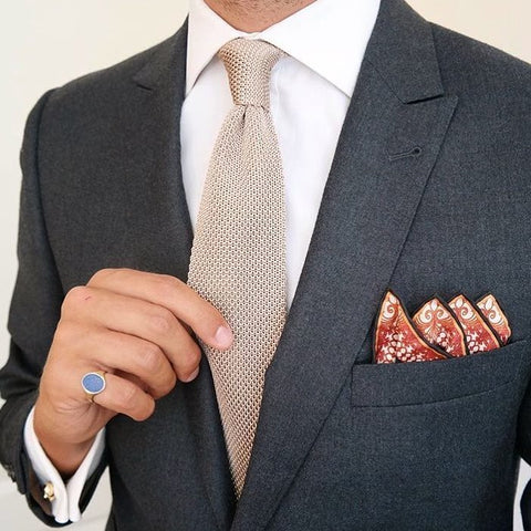 Grey jacket with pocket square