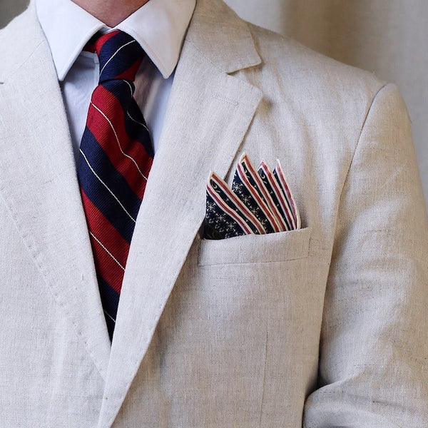 Linen Jacket With Pocket Square