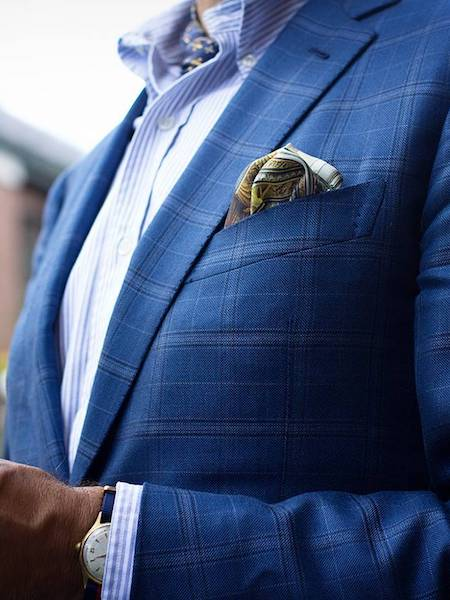 Navy check jacket and yellow pocket square