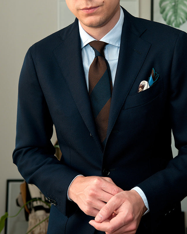 Pocket square with navy jacket