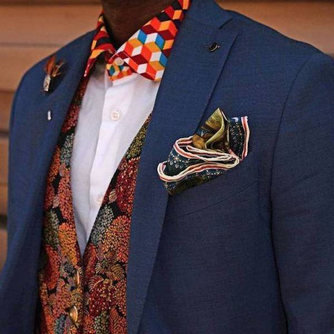 Pocket square with waistcoat