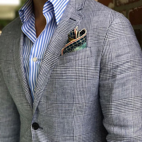 Prince of Wales jacket with pocket square
