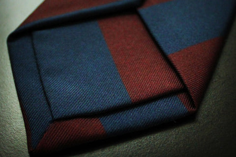 Red & Navy Stripe Self Tipped Tie