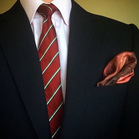 Red tie and pocket square