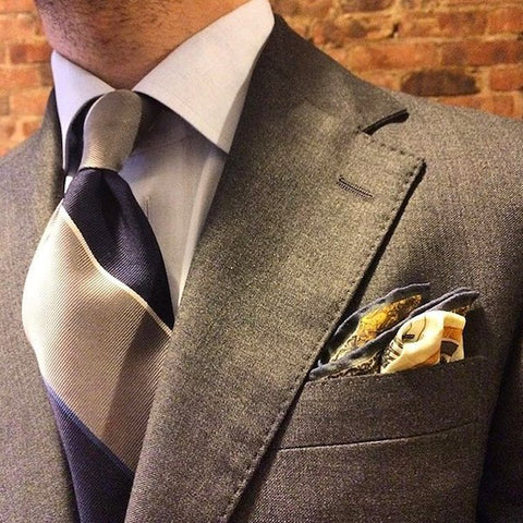 Striped tie and pocket square