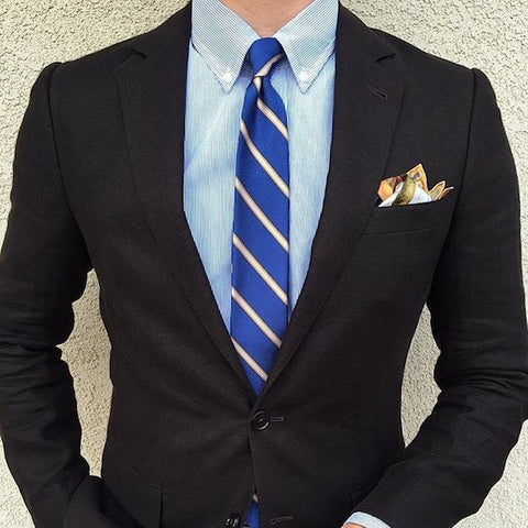 Striped tie with a pocket square