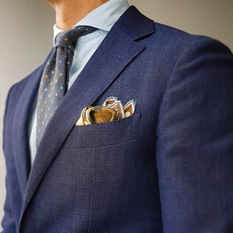 Textured jacket and pocket square