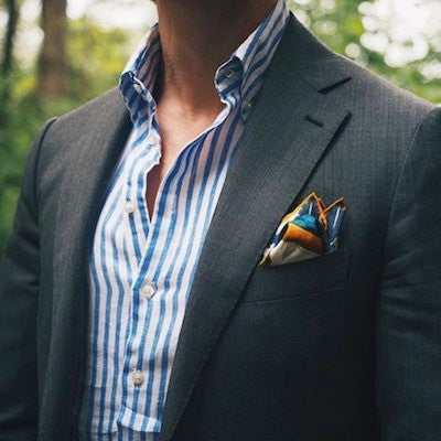 Yellow and blue pocket square