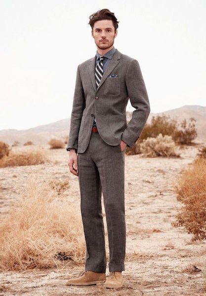 Grey Suit And Dessert Boots