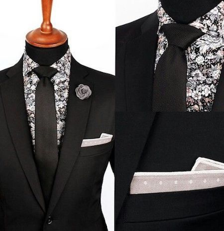 Black suit printed shirt