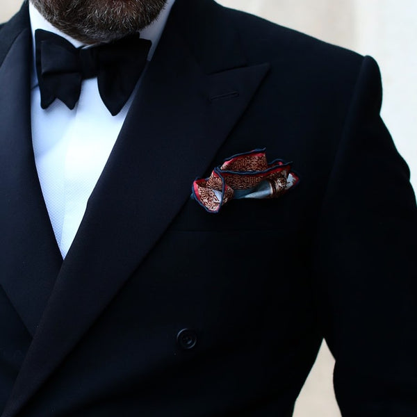 Silk Pocket Square Mens Handmade Designer White Black Patterns Handkerchief Suit