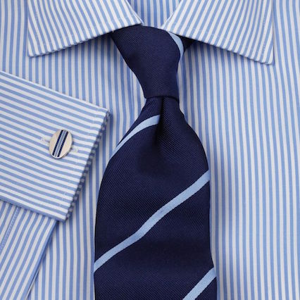 Stripped shirt and patterned tie