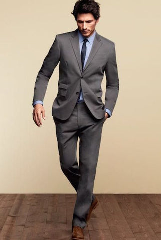 Grey suit with blue shirt