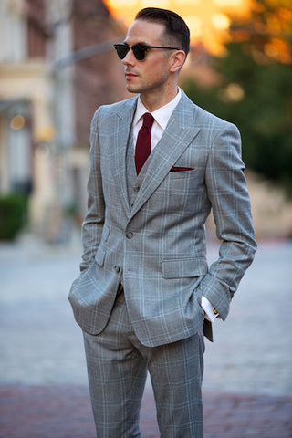 Grey suit burgundy tie