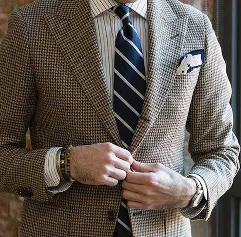 Houndstooth jacket and tie