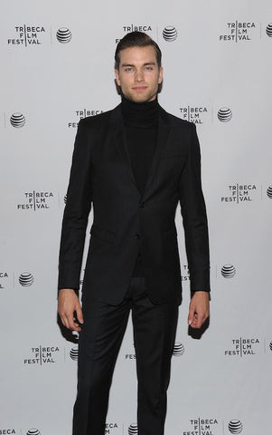 Black suit with turtle neck top