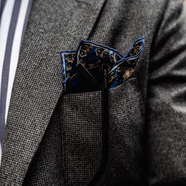 White Silk Pocket Square Charcoal
