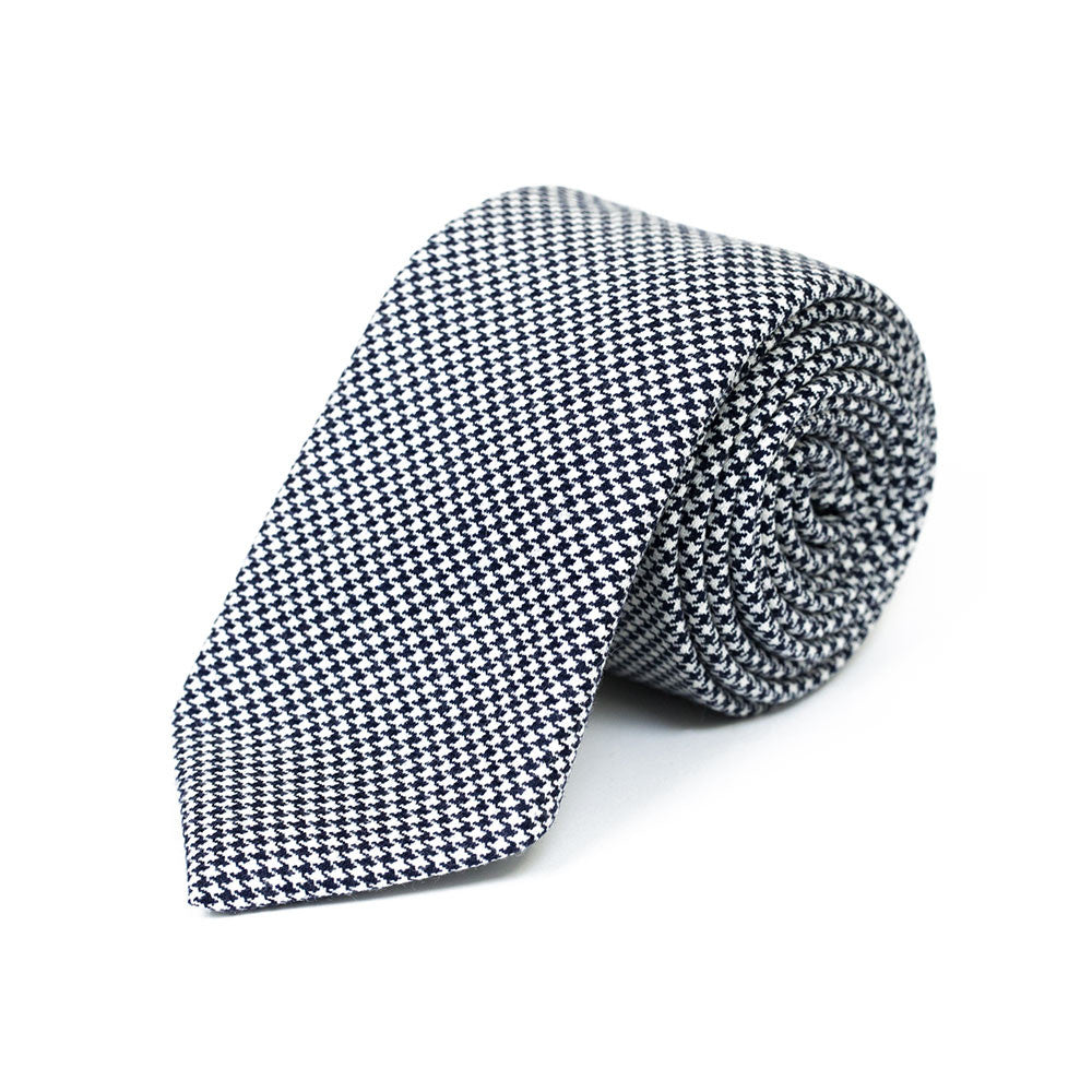 d4a07b453328 Black & White Houndstooth Wool Tie   Rampley and Co
