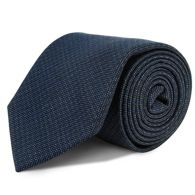 Blue and Grey Birdseye Wool Tie