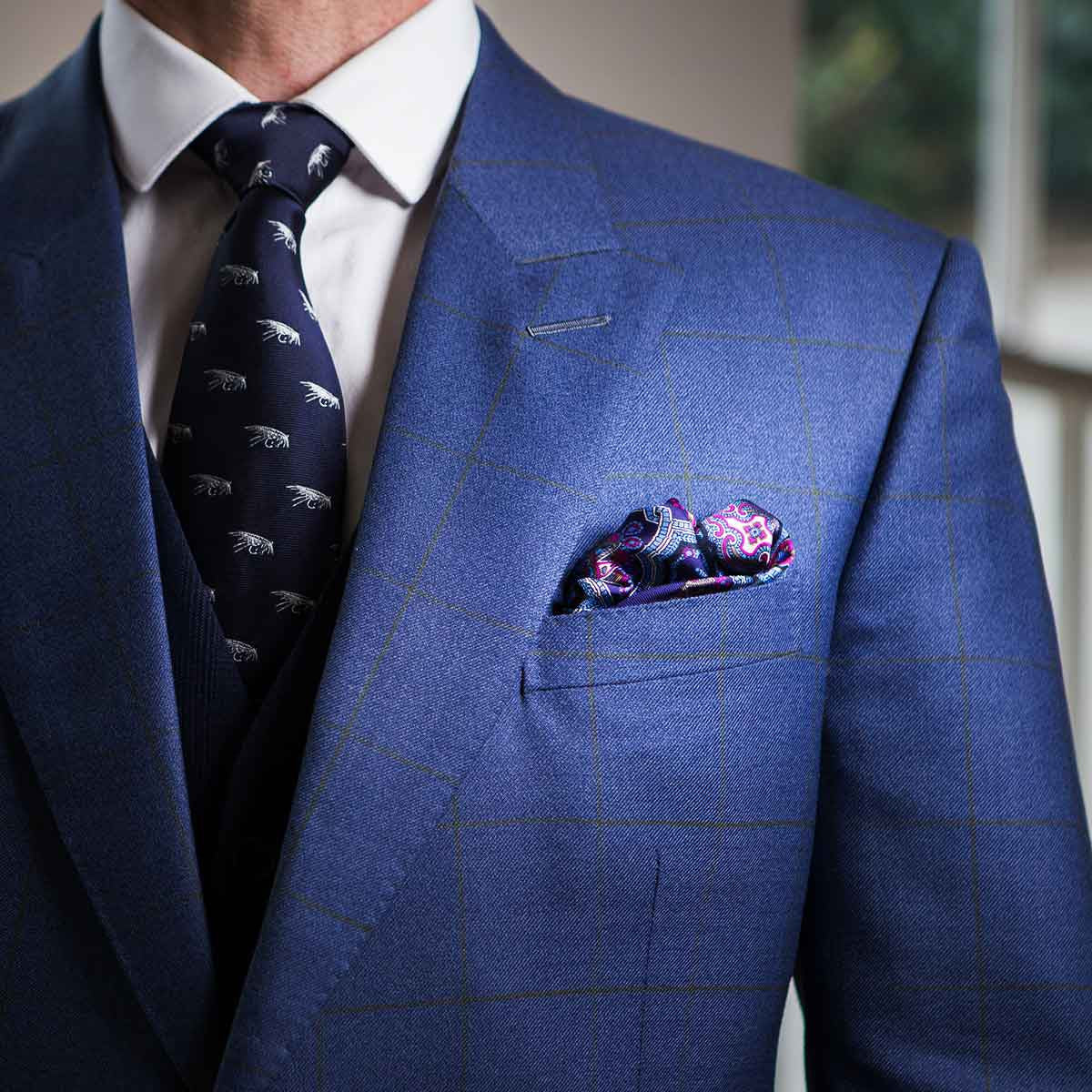 Hand Rolled 100/% Silk Pink and Blue Paisley Pocket Square with Black Border
