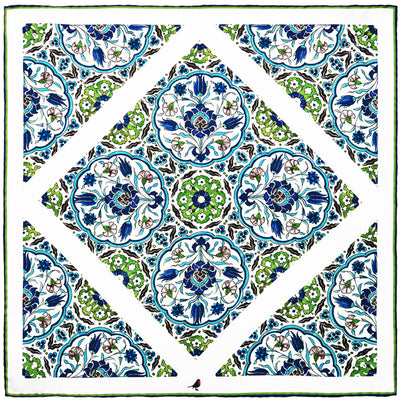 Blue Green Ottoman Tile Pocket Square
