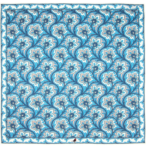 Blue and Pink Persian Flower Paisley Pocket Square