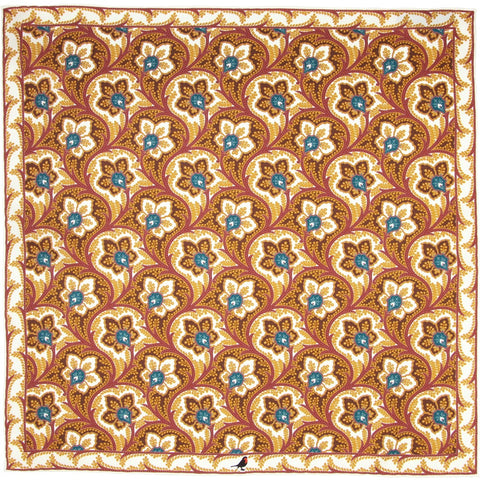 Bronze, Teal and Burgundy Persian Flower Paisley Pocket Square