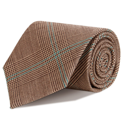 Brown Glen Check Super Fine Merino Wool Tie