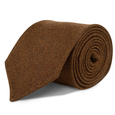 Brown Handrolled Wool Cashmere Tie