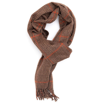 Brown Tangerine Prince of Wales Cashmere Scarf