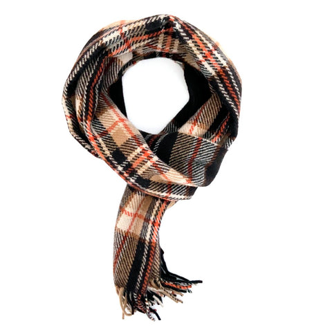 Brown, White and Burnt Orange Cashmere Scarf