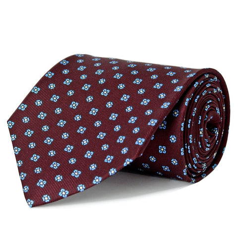 Burgundy Floral Repeat Silk Tie