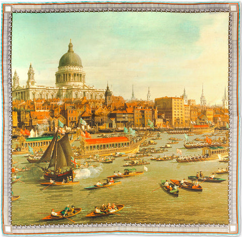 Venice: The Basin of San Marco on Ascension Day Silk Pockey Square Rampley & Co NzU4Rm80b
