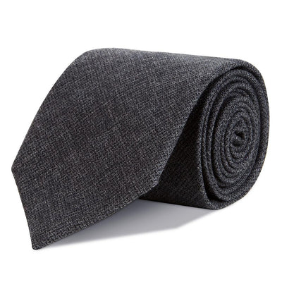 Charcoal Basketweave Merino Wool Tie