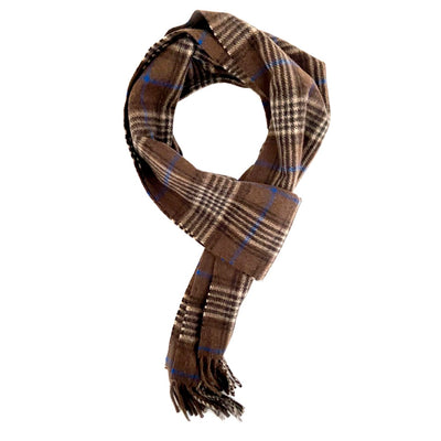 Chestnut Brown and Blue Check Cashmere Scarf